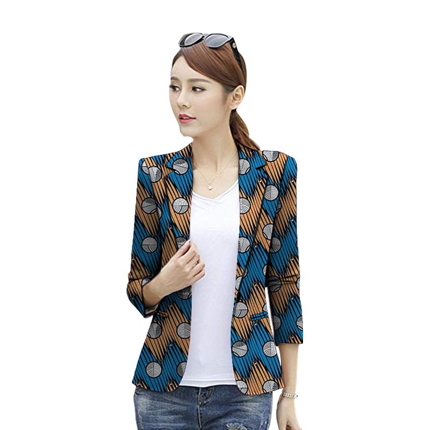 African clothes women's print blazers dashiki Ankara patterns fashion suit jackets custom made Three Quarter sleeve formal coat