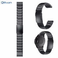 OLLIVAN Watch Strap Genuine Stainless Steel Bracelet Quick Replacement Fit Band Strap Wristband For Garmin Fenix