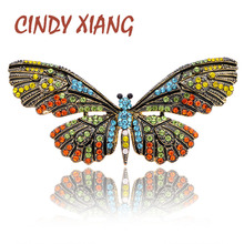 CINDY XIANG Large Butterfly Brooches for Women Spring Insect Brooch Pin Rhinestone Elegant Colorful Accessories Coat Jewelry