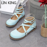 LIN KING New Spring Autumn Women Flats Shoes Sweet Solid Lolita Shoes Casual Round Toe Pu