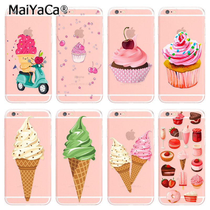MaiYaCa Hot Fashion phone case For iPhone 6 6s Case Sweet Colorful Cherry Icecream Patterns