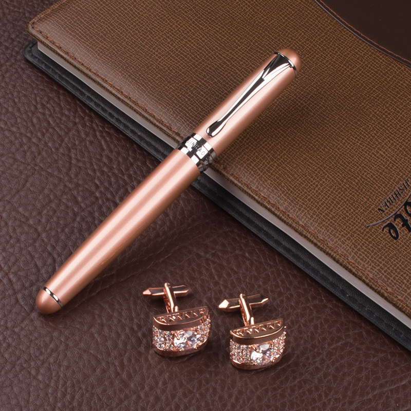 JINHAO X750 high quality Pencil Box metal Rollerball Pen Rose Gold Luxury Writing Cute pens gift cufflinks for mens high quality metal roller ball pen jujube red ink refill black office luxury writing cute pens gift box gel pens and cufflinks