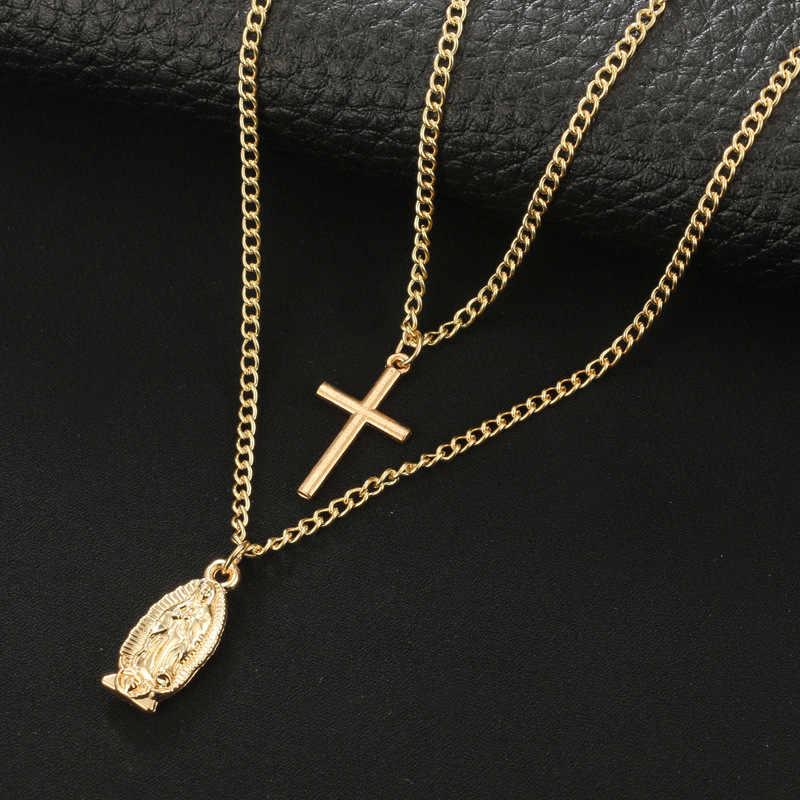Sexy krzyż wielowarstwowy naszyjnik łańcuch złoty kolor Bar medale gwiazda długi wisiorek naszyjnik panie Collier długi moda Chokers