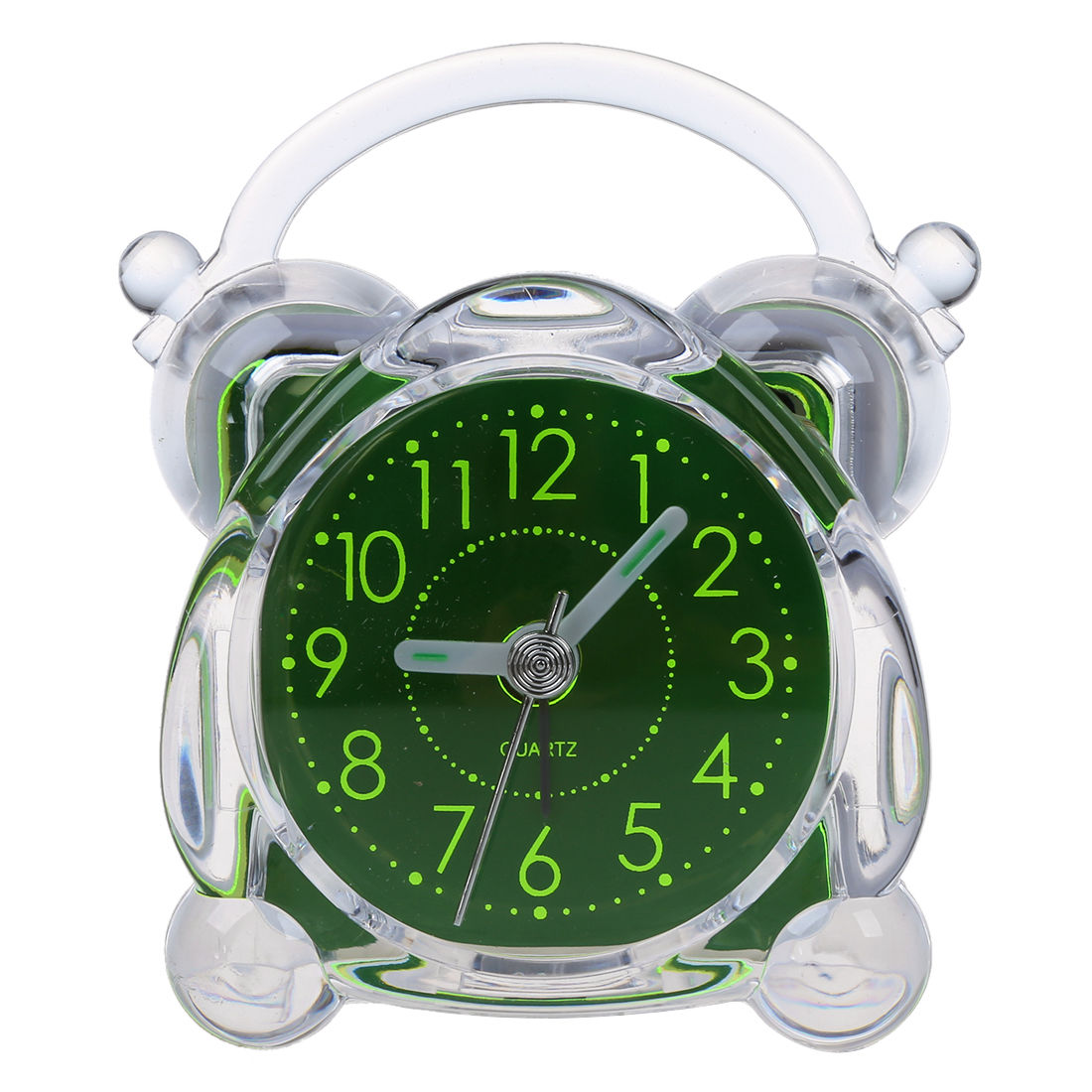 Small Crystal Plastic Desk Bell Alarm Clock with Light