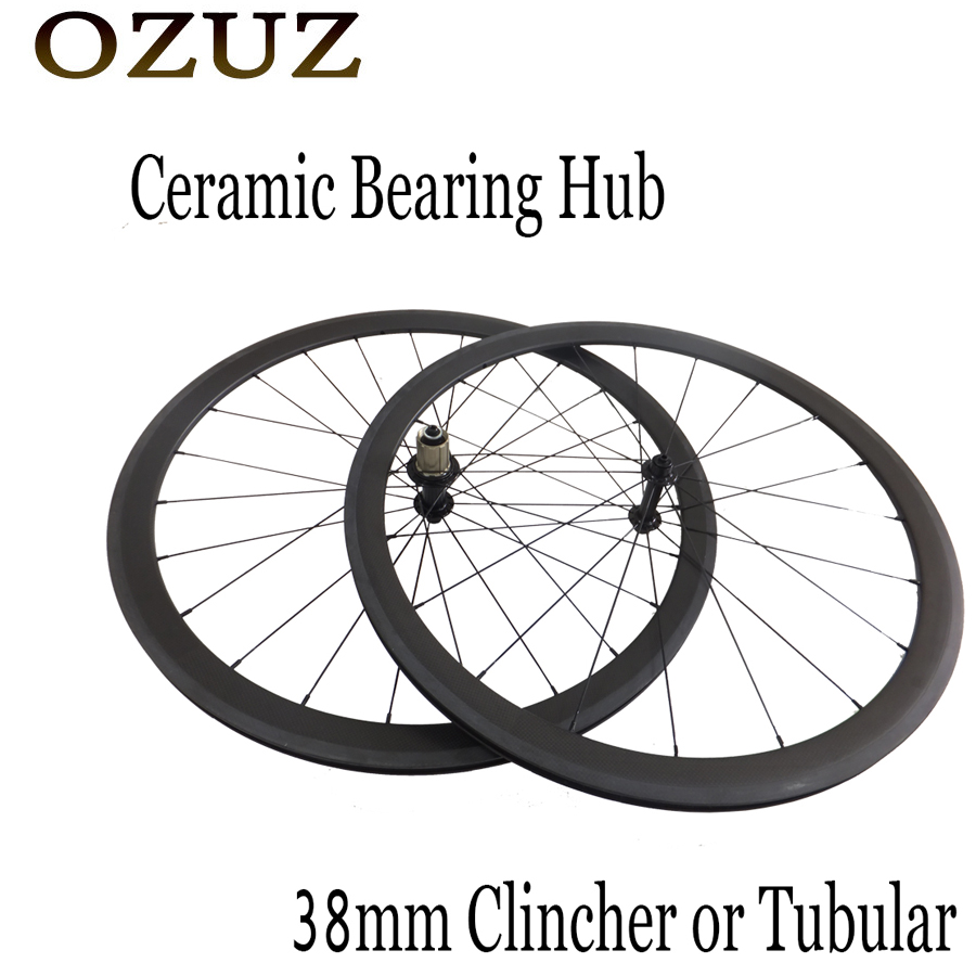OZUZ 38mm Clincher Tubular Road Bike Wheelset Powerway R13 Ceramic Bearing Hubs Wheels with 494 CNspokes Carbon Bicycle Wheels sobato bikes wheel carbon road wheels bicycle chinese oem wheelset 38mm clincher or tubular powerway r13 hub