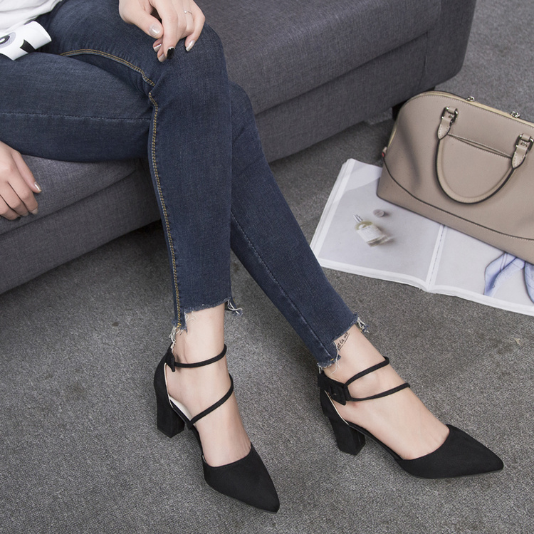 39 grey De Tamaño Gris Negro 2019 Alto Bombas Mujer Gamuza Negro Zapatos Moda Punta Cuero Tacón Casual 35 Trabajo UwqwCa