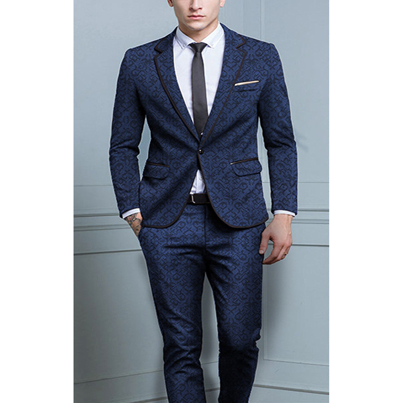2 Piece Suits Men British Latest Coat Pant Designs Royal Blue Mens Suit Autumn Winter Thick Slim Fit Plaid Wedding Dress Tuxedos