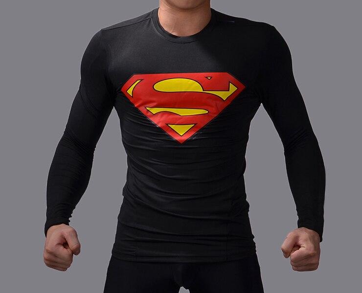 Fitness brand men t shirts all black compression t shirt gym/Superman/Batman/spider long sleeve men t-shirts tights shirts miss booty