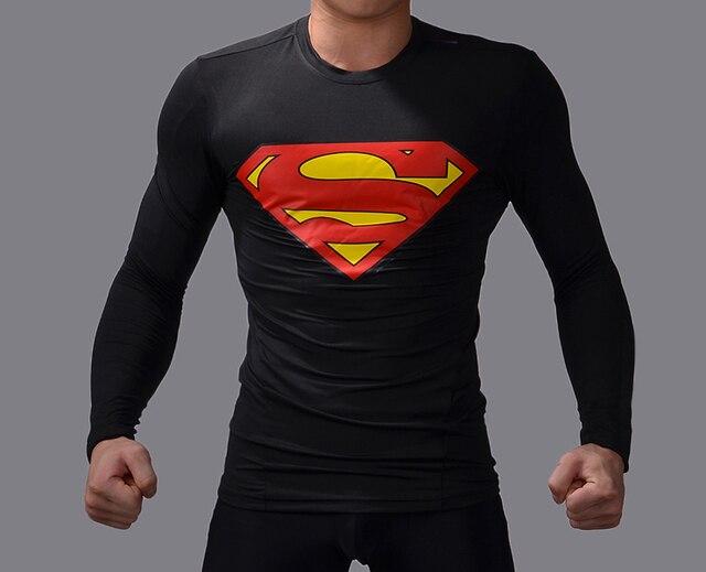 Fitness brand men t shirts all black compression t shirt Superman ...