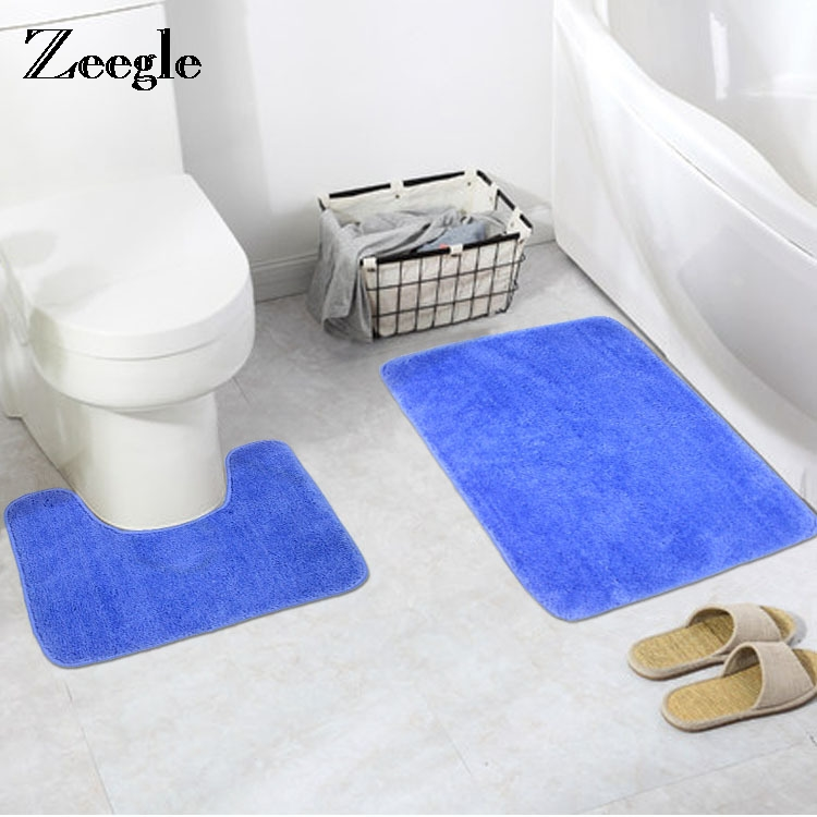 Zeegle 2pcs/set Blue Fluff Toilet Rug WC Seat Cover Anti-Slip Bathroom Absorbent Memory Sponge Mat Home Decoration Carpet