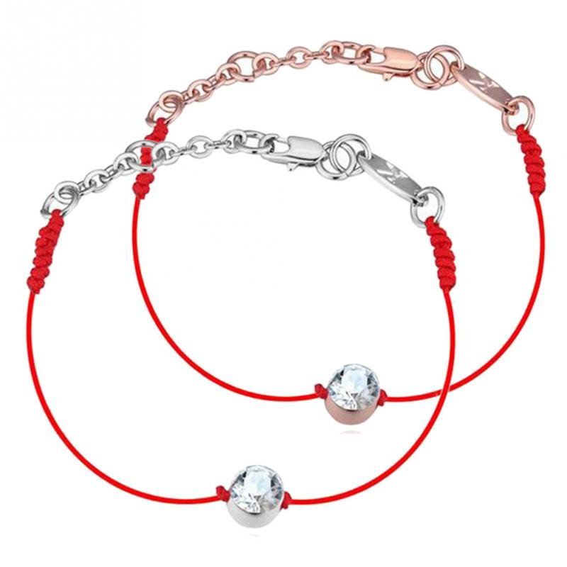 Handmade Crystal From jewelry thin red thread string rope Charm Bracelets Gold silver for women Fashion Hot summer style 2016