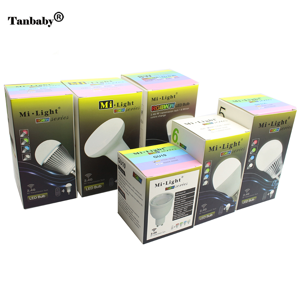 Tanbaby Mi.light LED Bulb Dimmable E27 E14 GU10 Lighting Lamp 4W 5W 6W 8W 9W RGBW RGBWW 2.4G Smart Lampara LED House Light smart bulb e27 7w led bulb energy saving lamp color changeable smart bulb led lighting for iphone android home bedroom lighitng