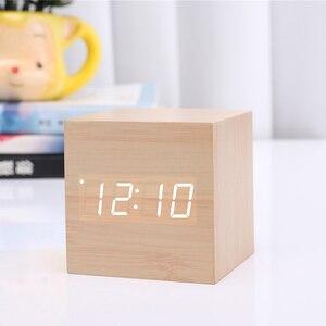 Image 4 - Hot Sale Multicolor Sounds Control Wooden Clock Modern Wood Digital LED Desk Alarm Clock Thermometer Timer Calendar Table Decor