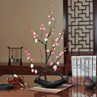 New Chinese Plum Artificial Flower Set Lamei Root Carved Fake Flower Decoration Home Living Room Study Porch Floral Decoration