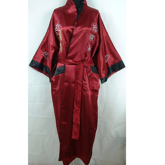 43fa2fccd Burgundy Black Chinese Men's Satin Sleepwear Robe Gown Novelty Embroidery  Nightwear Reversible Kimono One Size
