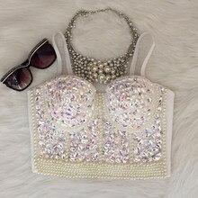 8c8809ddd4 Gorgerous Rhinestone Bead Pearls Bustier Push Up Wedding Bralette Women s  Bra Cropped Top Vest Plus Size