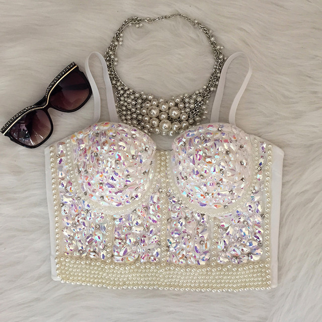 1c2ddb10ed7 Gorgerous Rhinestone Bead Pearls Bustier Push Up Wedding Bralette Women s  Bra Cropped Top Vest Plus Size