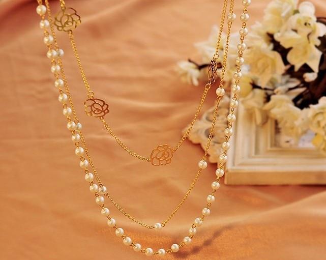 93e79224fb5e Ravishing placa dorado cadena de múltiples capas de perlas collares con  cuentas