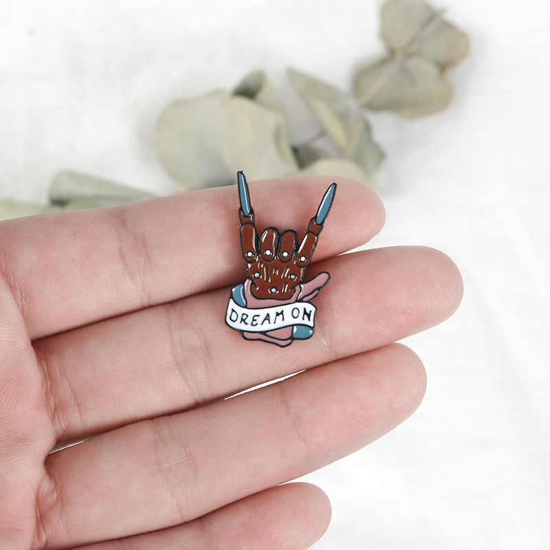 Kartun Lencana Huruf Dream Bros untuk Wanita Kreatif Punk Rock Pin Perhiasan Enamel Pin Denim Jaket Kerah Lencana Pernak-pernik