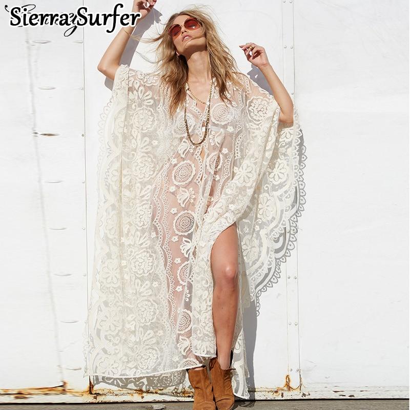 Beachwear Saida De Plage Long Bain Costumes Robe Cover Up Bikini Tunique De Femmes Étoiles Dentelle Sexy Robe Jupe Floral acétate Sierra