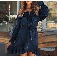 Hot Sale Fashion Autumn Lace Up Ruffles Dress Vintage Bow Off Shoulder Satin Dress Women Slash Neck Party Dress