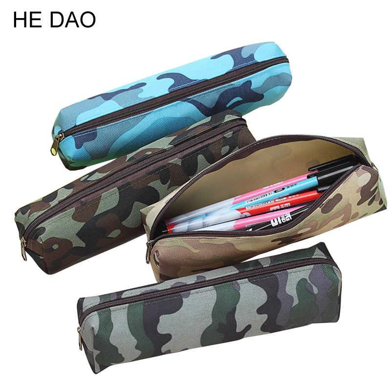 Camuflagem Caixa de Lápis Saco do Lápis Para Meninos e Meninas Material Escolar Sacos de Maquiagem Cosméticos Zipper Pouch Bolsa 4 Cores 1 PC