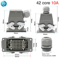 Heavy duty connector 42-core cold pressed rectangular air plug socket hdc-hdd-042 industrial waterproof socket 10A