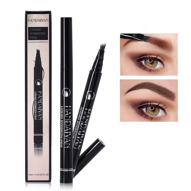 Marca nueva patentada Microblading ceja tatuaje pluma impermeable horquilla punta ceja tinta lápiz 4 cabezas líquido ojo cejas maquillaje