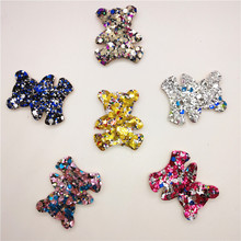 12pcs/lot Shiny Bear Shape Padded Appliques For Clothes Sewing Supplies DIY Craft Decoration