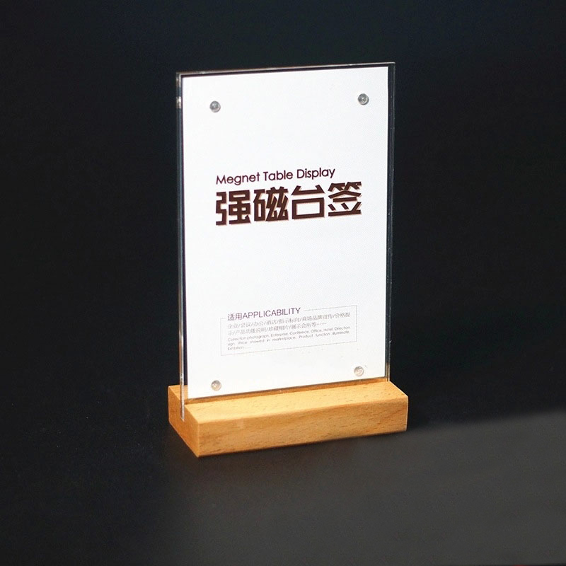 DEZHI-A6/A5/A4 Wood Desktop Drinks Menu Card Holder, Acrylic Panel Strong Magnetic Paste Card For Restaurant List Price Tag
