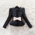 Горячие Продажи Новая Мода женские Зимние Лук Puff Короткие Корейских Laides Пальто Пуховик С Поясом B786