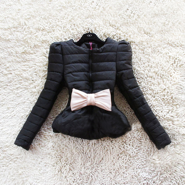 Venda quente Nova Moda das Mulheres Arco Inverno Sopro Curto Coreano Laides Jaqueta Casaco jaqueta Com Cinto B786