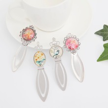 Glass cabochon bookmarks for book  Cute cartoon bird flowers Pattern Design bookmark Stationery office school supplies OL016