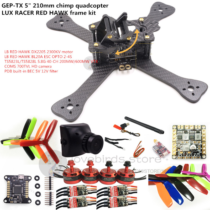 DIY FPV mini drone GEPRC GEP-TX 5 210mm LUX RACER frame kit RED HAWK DX2205 + BL20A ESC + 700TVL CAM +TS5823L/TS5828L diy fpv mini drone geprc gep rx5 hawk quadcopter 3k carbon fiber 210 frame stagger arm design 4mm main up lower plate