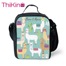 Thikin Cartoon Alpaca Pattern Lunch Bags for Girls Boys Fashion Portable Cooler Box Students Tote Picnic Pouch