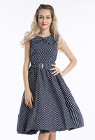 free shipping Clearance Navy Blue With White dots Swing 50's Retro pinup Jive rockabilly Vintage Dress