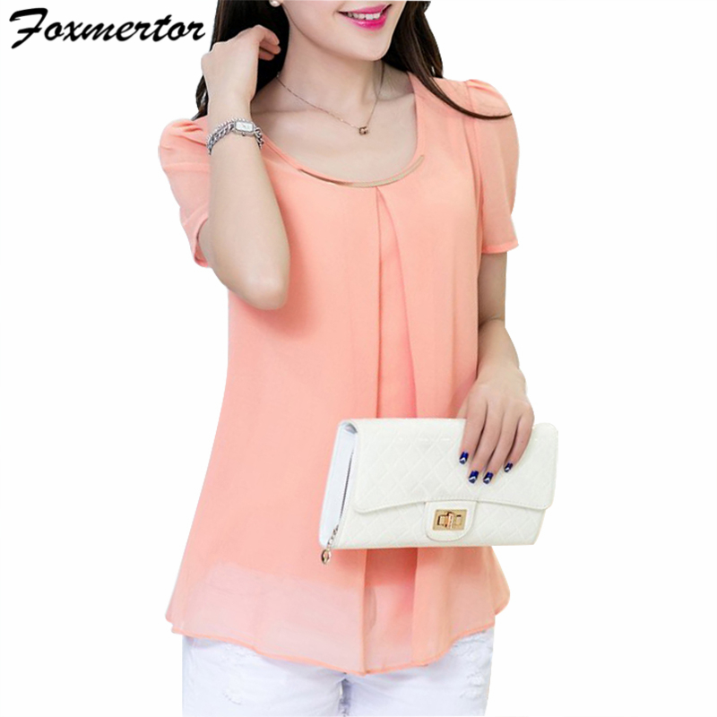 Foxmertor Women's Chiffon Blouse Shirt 2017 Short Sleeve Plus Size 4XL Shirts Women Solid O Neck Tops Loose Blusas Feminina F105