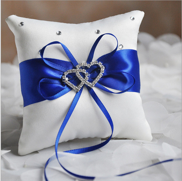 1 X Wedding Ceremony Ring Bearer Pillow Cushion Royal Blue Ribbon ...