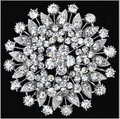 2.75 Inch Sparkly Silver Large Leaf Flower Wedding Bouquet Brooch Jewlery Good Gifts for mom