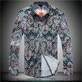 100% flor de algodão de manga comprida camisa de marca de moda grande tamanho ml XL XXL XXXL A0255