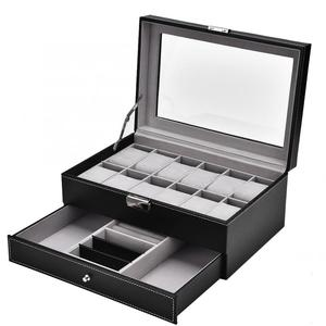 Image 2 - 12 Luxury Grids Slots Dual Layers Watch Display Storage Cases Box Dust proof Wood PU Leather Jewelry Watch Organizer Box
