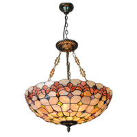 Modern Tiffany Style 5 Lights Inverted Pendant Lamp Vintage Baroque Stained Glass Suspension Light Fixture For Dining Room PL762