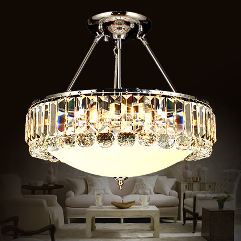 Restaurant crystal lamp chandelier modern simple minimalist European style round glass creative bedroom dining room home light цена и фото
