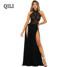 QILI Black Red Lace Long Maxi Dress Women Backless Split Sexy Party Club Dresses Elegant Ladies Back Cross Dress Female Robe недорого