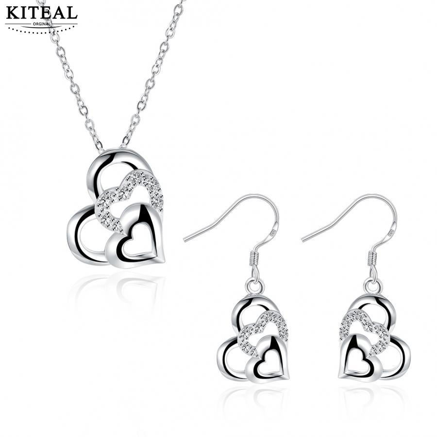 Kiteal Fashion Trendy Jewelry sets Silver Plated 925 stamped Heart Necklace earrings Set for Women Valentine's Day