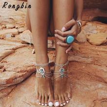 2017 Boho Enkelbandje Halhal Anklet women ankle Bracelet Cheville Silver Foot Chain Jewelry femme Pulseras tobilleras Mujer