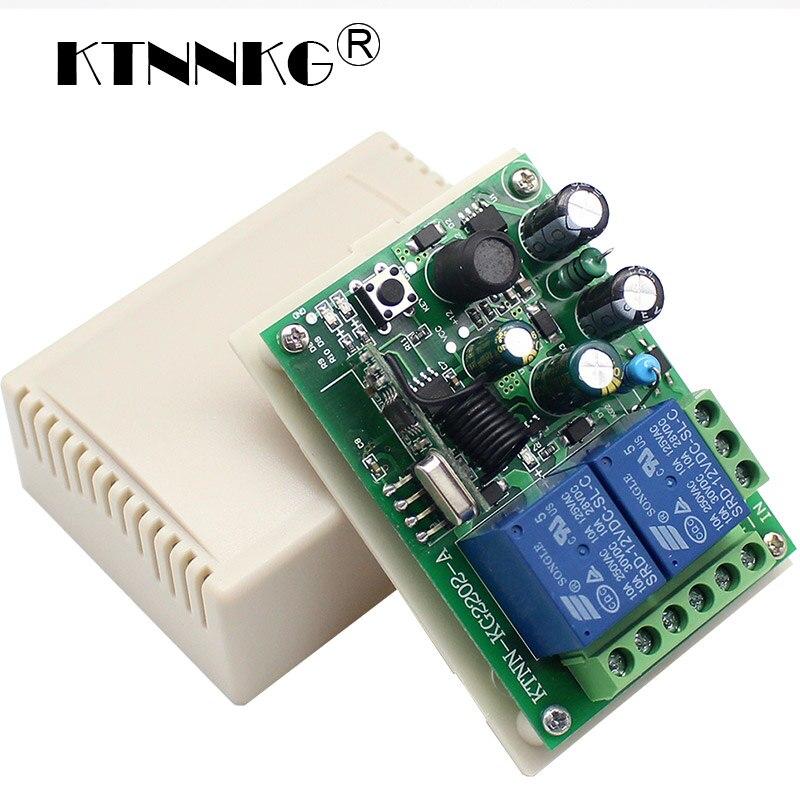 433 Mhz AC 250 V 110 V 220 V 2CH Module de récepteur de relais commutateur de télécommande sans fil universel pour télécommande RF 433 Mhz