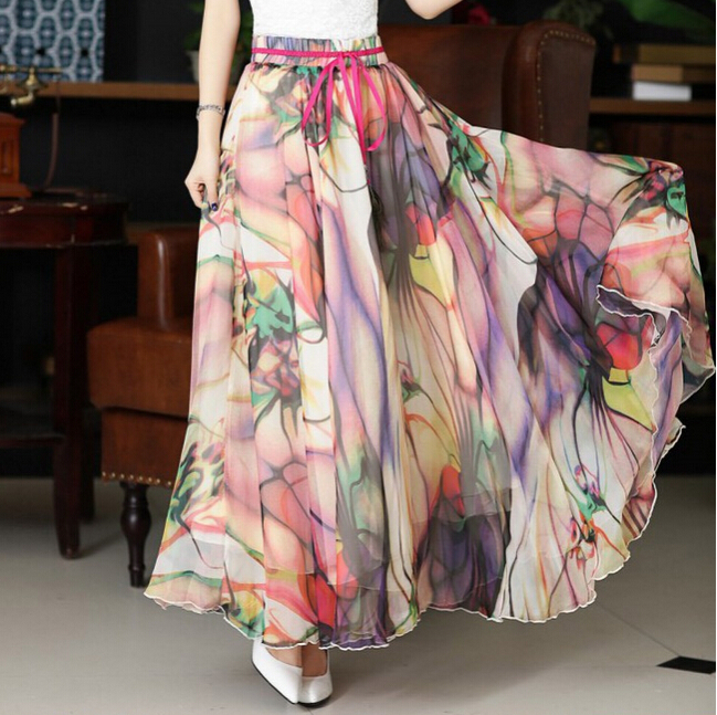 Popular Long Maxis Flower Pattern Maxis Long Skirts-Buy Cheap Long ...