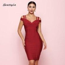 Seamyla 2018 Novas Mulheres de Vestido Bandagem Fora Do Ombro Vestidos Sexy Clubwear Evening Partido Red Dress Bodycon Vestidos de Verão