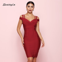 Seamyla 2019 New Bandage Dress Women Off The Shoulder Vestidos Sexy Clubwear Evening Party Dress Red Bodycon Summer Dresses